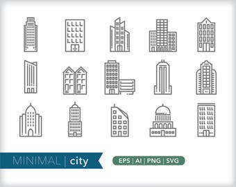 Minimal city line icons | EPS AI PNG | Geometric Building Clipart Design Elements Digital Download