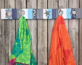 blue gray striped beach towel rack outdoor shower outside pool towels bathroom cottage renovation lake river Outer Banks BeachHouseDreamsOBX