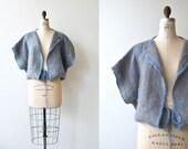 Alborada knit jacket | vintage 1970s wool cardigan | loomed drawstring sweater
