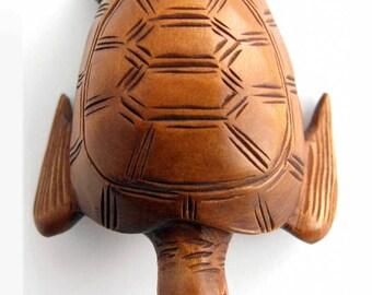 Sea Turtle Hand-Carved Boxwood Netsuke Bead