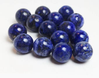 12mm Natural Afghan Lapis Lazuli AA Quality Round Beads - Lot of 15