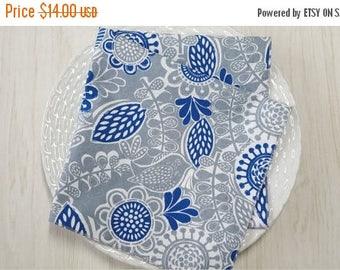 SALE Cloth Napkins Modern Floral Bird Gray Blue Set of 4
