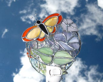 Butterfly on Morning Glories Stained Glass Night Light Butterfly Night Light Floral Night Light Nightlight Glass Lamp Stained Glass Light