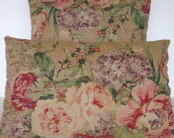 Decorative Throw Pillow Cover Botanica Bird Floral Flowers French Country English Cottage Garden Tea Stained Pink Distressed Lumbar Square