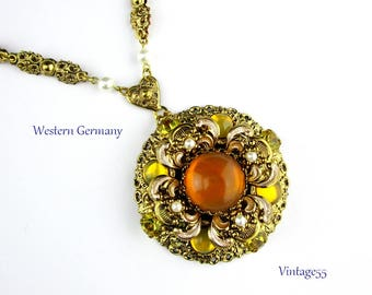 German Necklace Peach Yellow Glass