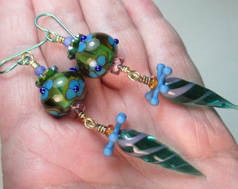 Peacock Striped-dot Florals and Twisties Handmade Lampwork Glass Bead Earrings by Patti Cahill
