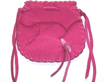 Beautiful Deerskin Medicine Bag ..PINK