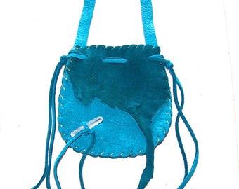 Beautiful Leather Medicine Bag / NECK BAG ..TURQUOISE