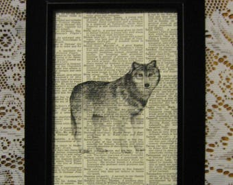 "Wolf on Vintage Dictionary Book Page Print - 5"" x 7"""