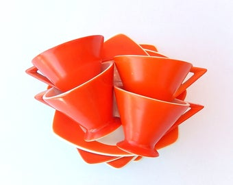 Fab 1930s Demitasse Set for 4: Atomic Art Deco Salem Streamline Cups & Tricorne Saucers in Mandarin Orange, Multiples Available