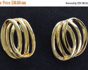 ON SALE Pretty Vintage Gold tone Triple Circle Pierced Earrings (AG3)