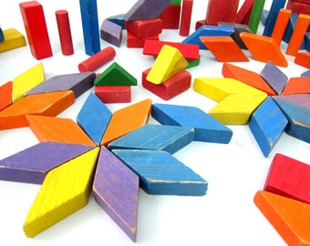 Painted Wood Blocks retro Wooden Block Collection Children's Toys Vintage Building Blocks Red Green Blue Purple