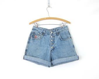 Light Wash Blue Jean Shorts Button Fly Denim Shorts Vintage Casual Hipster Street Style Z Cavaricci Brand Faded Shorts Womens Size 29