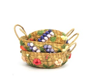 Etsy your place to buy and sell all things handmade vintage basket bowls set of 3 nesting decorative natural woven baskets modern earthy home decor bohemian negle Image collections