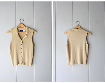 90s Basic Ribbed Tank Top Minimal Beige Button Up Collared Tank Modern Knit Top Vintage Sleeveless Preppy Casual Knit Tee Womens Small
