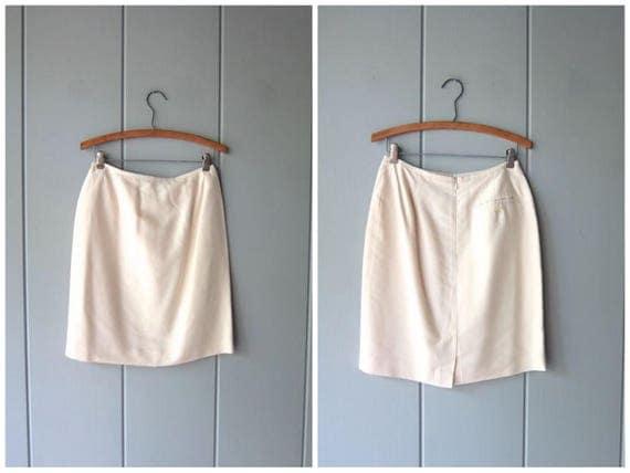 Minimal Silk Ivory White Skirt Silk Mini Skirt Modern Professional Silk Skirt High Waist Skirt Minimal Skirt Summer Skirt Womens 10 P Medium