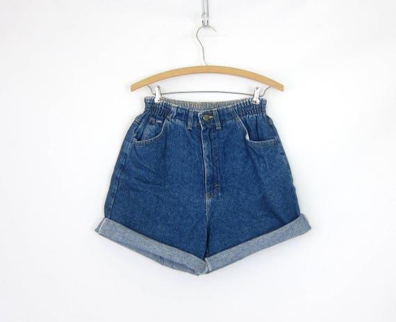 LEE Jean Shorts High Elastic Waist Shorts High Rise MOM Denim Shorts Pockets 1980s Vintage Hipster Shorts Womens size 10 Medium