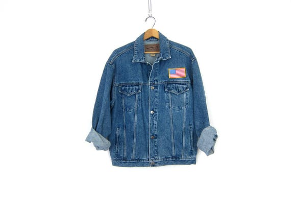 Blue Jean Jacket Button down Denim Trucker Coat USA Flag Patch Oversized Rugged Fit Mens Woodsy Camp Coat Mens Size Medium