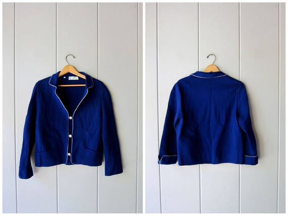 Vintage 50s wool sweater Italian Blue Wool Button Up Cardigan Preppy Collared Thick Knit Sweater 1950s Italy Sweater Womens Large Medium