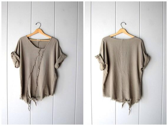 Natural Cotton Gauze Tunic Top Oversized Taupe Grey Tee Minimal Fringed Top Vintage 90s Textured Oversized Shirt Short Sleeve Womens Large