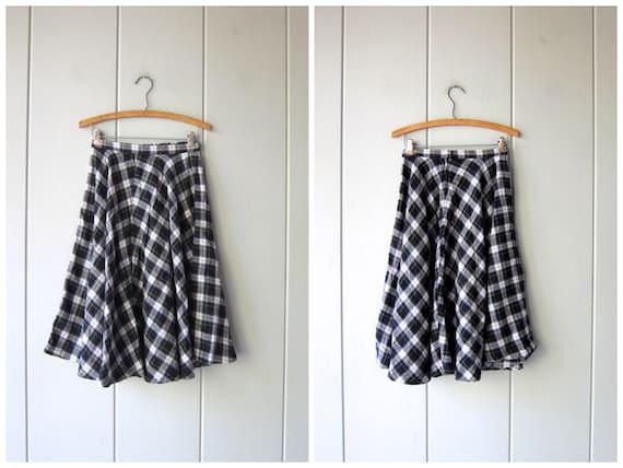 Vintage Plaid Skirt 80s Full Circle Midi Skirt White Green Preppy High Waist Skirt Thin Flannel Skirt Holiday Skirt Prep School Womens XS