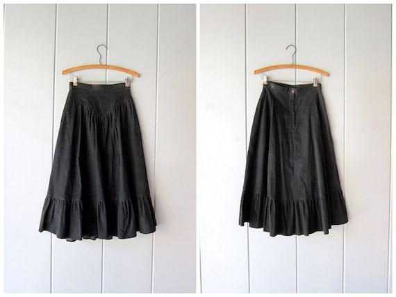 "70s Green Corduroy Skirt High Waist Thin Ribbed 80s Cotton Skirt Fall Prairie Peasant Midi Chore Skirt Minimal Boho Country Womens XS 24"""