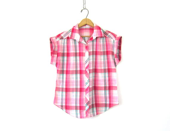 80s Pink plaid Top THIN Fabric Shirt Button Up Blouse Casual Collared Top Short Sleeve Hipster Tee Vintage Womens Medium