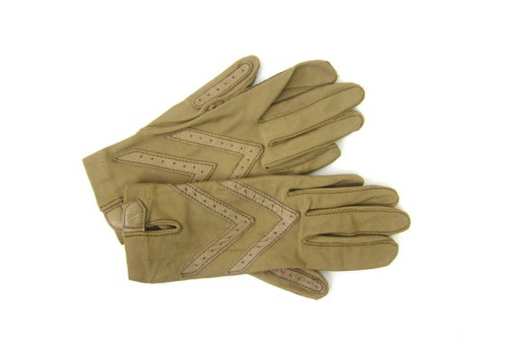 Tan ISOTONER Stretch Gloves Leather Palm Gloves Vintage Driving Gloves Winter gloves Women's One Size Small Medium