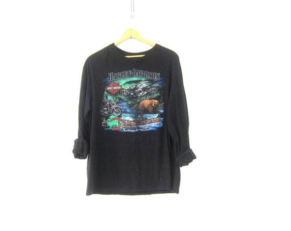 Black Harley Davidson Tshirt Long Sleeve Cotton Motorcycle biker shirt Juneau, Alaska Biker tee size XL COed Unisex Tee Shirt