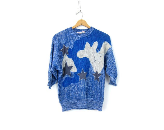 Clouds and Stars Sweater Blue White Marled Vintage 1980s Retro Novelty sweater 3/4 sleeves Pullover Women's Jumper Size Small Medium