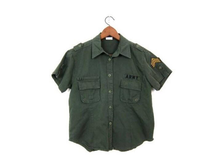 Military Shirt Army Green 90s Commando Field Button Up Utility Shirt Short Sleeve Grunge Cargo Vintage Patch Shirt Hipster Womens Medium