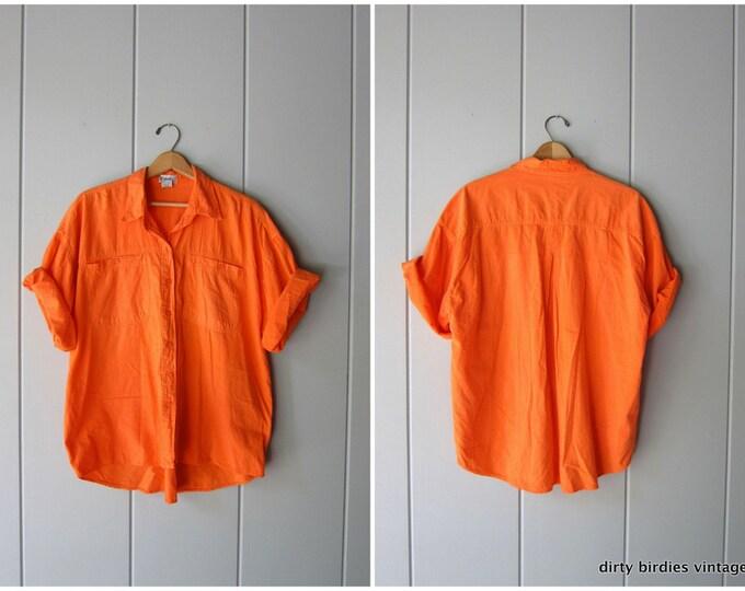 Neon Sorbet Orange Silk Shirt | 90s Button Up Silk Top Short Sleeve Minimal Modern Beach Pocket Tee Mens Small Womens Large
