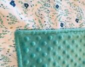 SALE Minky Blanket Jade Green Blue Flowers Stroller Shower gift Sarah Jane  gifts under 30 nursery gift lovey