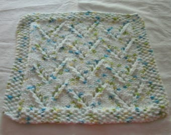 Hand Knit Dishcloth - measures approximately9x9 inches