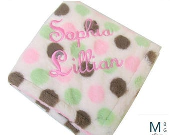 SALE Pink and Brown Polka Dot Minky Dot Blanket, Pink Brown Mod Dot Minky Baby Blanket Can Be Personalized