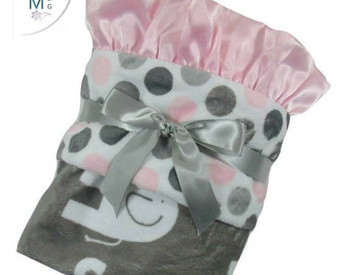 SALE Pink and Gray Mod Polka Dot Elephant Minky Baby Blanket,  3 SizesCan Be Personalized