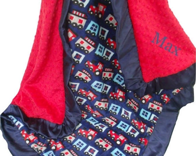 SALE Navy and Red Train Print Minky Baby Blanket with Satin Ruffle