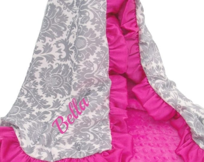 SALE Gray Damask and Hot Pink Fuchsia Minky BlanketCan Be Personalized