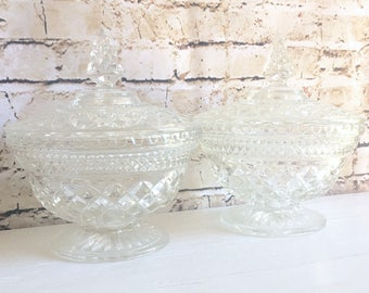 Pair of Matching Large Cut Glass Pedestal Jars with Lids with Decorative Handle - Stunning