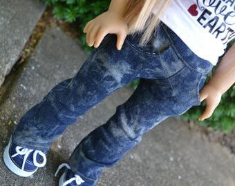 18 inch Doll Clothes - Dark Wash Bleached Straight Leg Jeans with real pockets - Blue Denim - fit American Girl