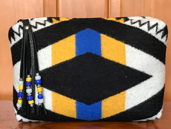 Wool Unlined Clutch XXL with Beaded Fringed Zipper Pull / Cosmetic Bag / Makeup Bag / Travel Bag XXL Bold Geometric