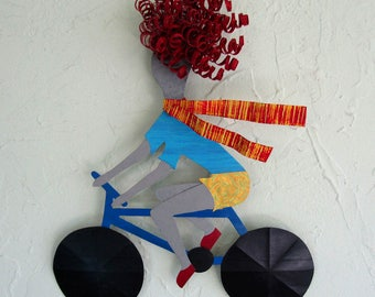 Metal Wall Art Bicycle Lady Sculpture Redhead Bike Gal Recycled metal Wall Decor Indoor Outdoor Whimsical Art 11 x 14