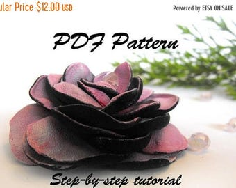 50% OFF SALE Leather rose tutorial. Leather flower PDF pattetrn.