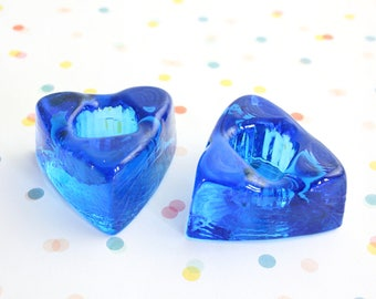 Mid Century Modern Cobalt Blue Glass Triangle Candle Holders / Glass Candlesticks by Nuline for Wheaton Glass Co.