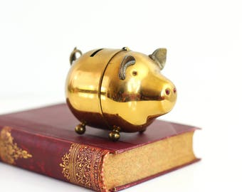 Mid Century Brass Piggy Bank / Brass Pig Bank / Vintage Brass Bank / Vintage Metal Bank / Vintage Piggy Bank