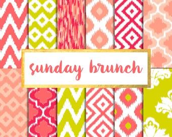 New! Sunday Brunch Ikat Version 2 Digital Paper Pack (Instant Download)