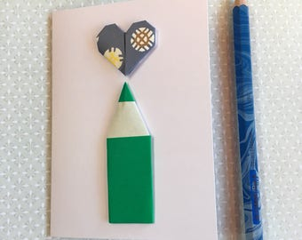 Origami greeting card - pencil and heart (green and blue)