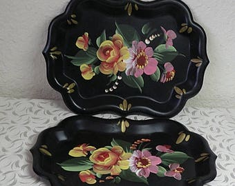 christmasinjuly TWO small trays painted toleware.....vintage painted metal