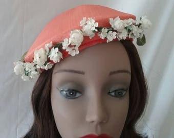 Vintage Bright Orange Hat with Flowers  p21