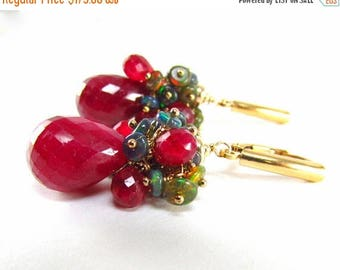 25 % OFF Ruby With Black Ethiopian Opal Cluster Gold Filled Lever Back Earrings